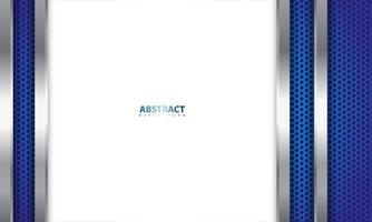 conception métallique réaliste en bleu, argent et blanc vecteur