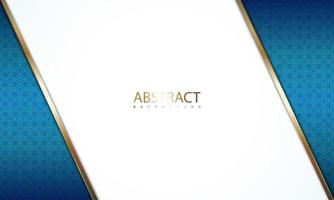angle blanc avec bordures dorées sur motif bleu vecteur