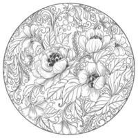 cadre de cercle floral élégant mandala décoratif vecteur