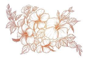 dessin floral décoratif croquis dégradé