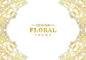 beau cadre floral doré décoratif