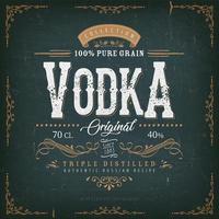 étiquette de vodka vintage pour bouteille vecteur
