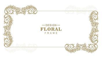 cadre de rectangle floral décoratif ornemental vecteur