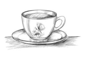 tasse à café avec croquis dessiné main assiette