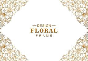 cadre d'angle floral doré décoratif ethnique