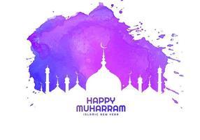 bonne carte religieuse muharram en violet vecteur