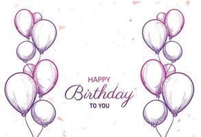 carte de joyeux anniversaire avec croquis de ballons vecteur