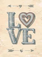 affiche d'amour de style vintage vecteur