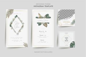 modèle de carte d'invitation de mariage vecteur