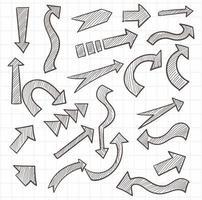 jeu de flèches de croquis dessinés à la main vecteur