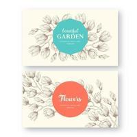 ensemble de modèles d'étiquettes florales ou de cartes de visite