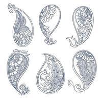 dessiner à la main ensemble décoratif paisley
