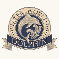 étiquette rétro dauphin vecteur