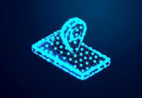 point de carte et téléphone. fond bleu brillant.