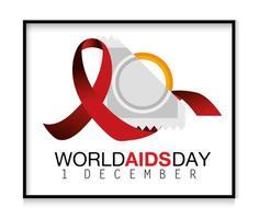ruban rouge et préservatif pour la journée mondiale du sida