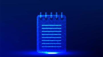 conception d'icône de cahier rougeoyant bleu