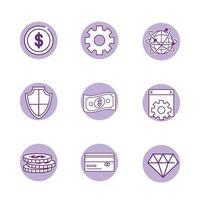 jeu d'icônes de l'industrie fintech
