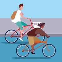 jeunes hommes, équitation, vélo, avatar, caractère vecteur