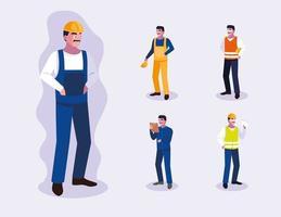 ensemble de conception de travailleurs professionnels masculins