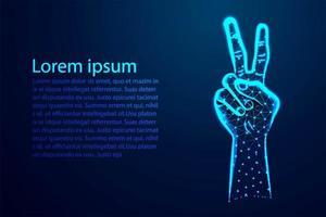 main avec deux doigts dans la conception de signe de paix