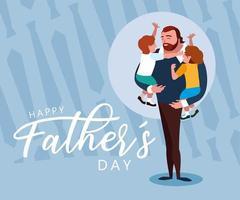 bonne fête des pères avec papa et enfants vecteur