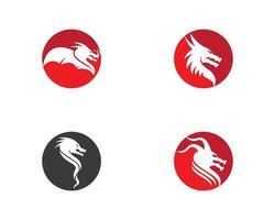 ensemble de logo tête de dragon vecteur