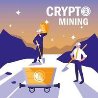 travailleurs d'équipe crypto minage bitcoins vecteur