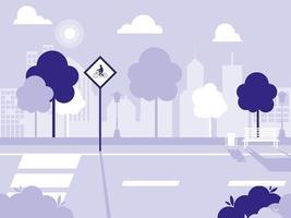 icône isolée de scène de rue de route vecteur