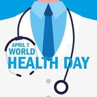 carte de la journée mondiale de la santé avec un médecin