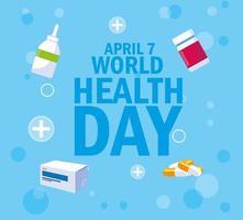 carte de la journée mondiale de la santé avec bouteilles et médicaments