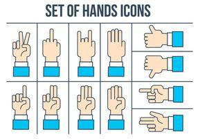 Jeu d'icônes pour les mains libres vecteur