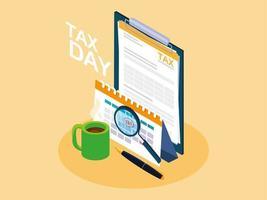 jour des impôts avec presse-papiers et icônes commerciales vecteur