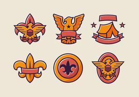 Paquet de vecteur couleur couleur badge Eagle Scout