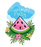 conception de fête d'été avec des fruits de pastèque vecteur