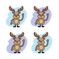 jeu d'icônes kawaii renne