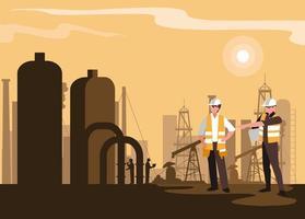 scène de l & # 39; industrie pétrolière avec pipeline d & # 39; usine et travailleurs vecteur