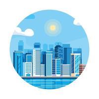 Scène de jour de bâtiments de paysage urbain dans un cadre circulaire