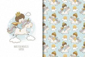 joli prince chevauche une licorne en dessin et motif de nuages vecteur