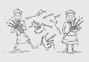 Bagpipes scotland man lined illustration vectorielle vecteur