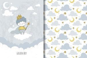 petit prince doré et motif nuage et lune vecteur