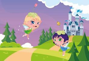 jolies fées avec conte de fées de château dans un paysage montagneux vecteur
