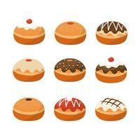 jeu d'icônes de pâtisserie vecteur
