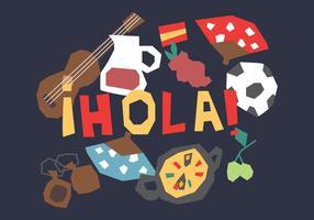 Éléments espagnols drôles vecteur