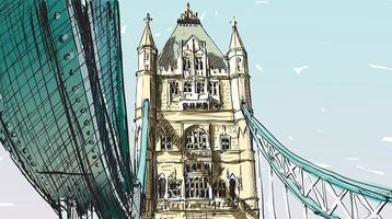 Croquis couleur du Tower Bridge de Londres vecteur