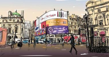 Croquis en couleur du paysage urbain en Angleterre vecteur