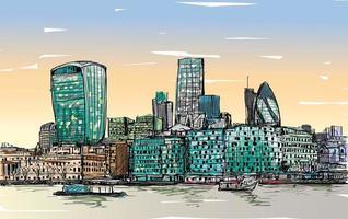 Croquis de couleur de paysage de Londres, Angleterre vecteur