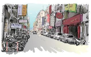 Croquis en couleur d'un paysage urbain asiatique vecteur