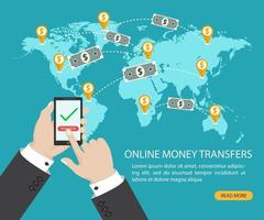 transfert d'argent en ligne et transaction bancaire électronique