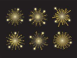 jeu d'icônes de feux d'artifice doré