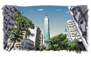 Croquis en couleur du paysage urbain de Taiwan avec des gratte-ciel vecteur